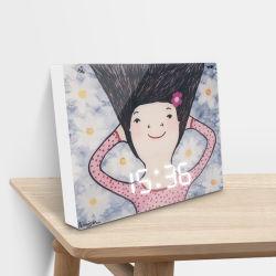 إطار الصور شاشة LED رقمية للأطفال مكتب مربع/ساعة حائط طاولة مع وظيفة عرض مستشعر الصوت