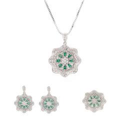 Tre Set di gioielli floreali placcati oro Rhinestone