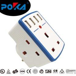محول شاحن بطارية USB للكمبيوتر المحمول متعدد المقابس من نوع AC UK