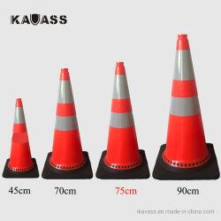 coni d'avvertimento di traffico della strada del PVC di 750mm di sicurezza flessibile riflettente pieghevole morbida di plastica della via