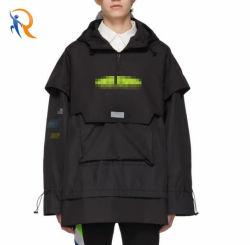 Commerce de gros de l'usure de la mode Mens veste de plein air surdimensionné Custom pull-over brise-vent veste à capuche Rtm-430