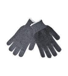 Tejido de algodón poliéster agarre la protección de seguridad Guantes de trabajo con puntos de PVC negro para nave industrial mecánico pintor de la jardinería, hombres y mujeres, gris, de tamaño grande