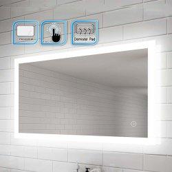 Capteur tactile rétroéclairé utile en cas de l'interrupteur Frameless Light up Miroir de salle de bains pour l'hôtel