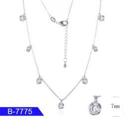 Spätester überzogene Sterlingsilber-Halskette des Entwurfs-2019 Rhodium