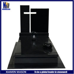 Xiamen Mason gran piedra de granito negro Shanxi hueco exclusivo diseño de la Cruz de la tumba tumba doble