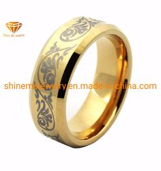 Shineme Jewelry High Quality Gold Plating Laser Tungsten Ring (TSTG024)