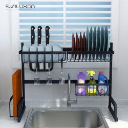 65cmの流し上の台所のための黒い金属のステンレス鋼の台所皿の流しラック記憶の立場