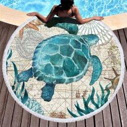 Serviette de plage ronde épaisse couverture avec des glands, Mandala tapisserie absorbants doux à séchage rapide, cercle de capot de la table de pique-nique Beach Blanket nappe de tapis tortue de mer