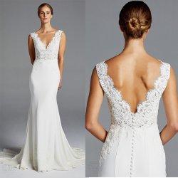 La dentelle robes de mariage en satin Spandex personnalisé V-décolleté manches plus taille robes de mariée robe de bal Z602