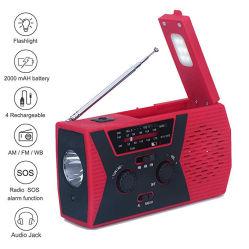 De draagbare Radio van het Weer van Handcrank Noaa van de Noodsituatie Zonne met Heldere LEIDENE van de Bank van de Macht van mAh van 2000 Toorts