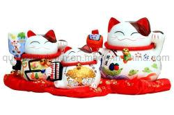La Porcelaine Céramique Décorative OEM japonais de l'argent de la chance de Fortune Cat