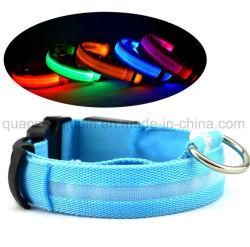 Poliéster OEM Flash LED recargable Perro Collar