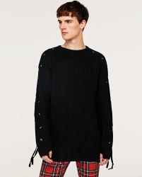 Homens Inverno Moda Suéter pesado com o olhal de metal