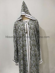 100% Rayon Rotary Imprimir Lady's Dress