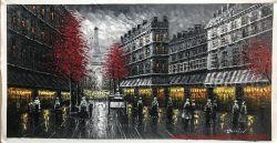 ホーム装飾のためのハンドメイドのパリの通りの油絵
