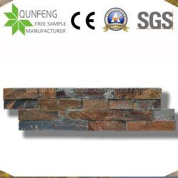 Piedra自然な中国Ledgestoneのベニヤのパネルの錆ついたスレートの壁