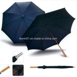 カスタムマニュアルの開いた木のハンドル木シャフトのまっすぐな棒の傘
