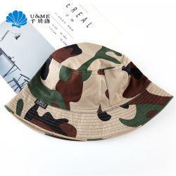 屋外のバケツの人の女性の綿のあや織りの布の上昇の帽子を採取している軍隊ジーン