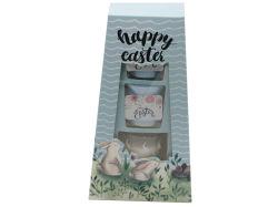Festival de Pâques 2PCS pilier bougies votives et Bougie en verre ensemble-cadeau en boîte cadeau pour la décoration d'accueil