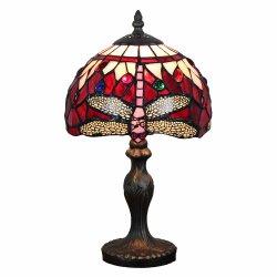 """8"""" Тиффани лампы из витражного стекла красного стрекоз настольные лампы освещения акцент на прикроватном мониторе светильник Jeweled Tffany стиль настольные лампы"""