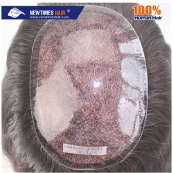注入されたケイ素ベース現実的な人間の毛髪の女性のToupee