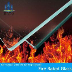 Prix de verre résistant au feu 30min 60min 90min en verre résistant au feu de la chaleur tempérée incassable nominale durci les systèmes de sécurité pour les murs de verre coupe-feu porte fenêtre