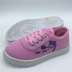 Les enfants d'injection toile imprimé personnalisé chaussures chaussures chaussures occasionnel de l'école (HH0427-2)