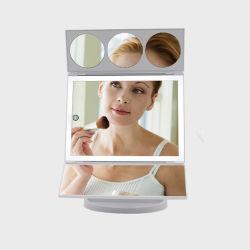 3배 5배 10배 확대 휴대용 3중 메이크업 화장용 조명 거울
