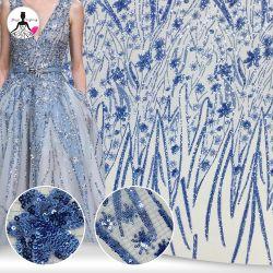 Comercio al por mayor Nuevo estilo Glitter Sequin Sequin nupcial de boda vestido de encaje tejido