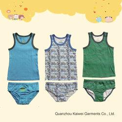 100% algodão Colete do rapaz e breve roupas íntimas definido