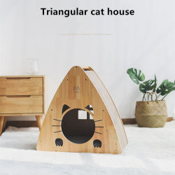 Triângulo de papel ondulado Ninho Cat Cat House brinquedo com placa Anti-Scratch 0236