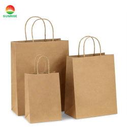 Venda por grosso de bolsas de Papel Kraft Personalizada Profissional Dom Bag para compras e dom de embalagem
