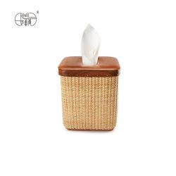 Renel la vente en gros carrés de tissus en rotin naturel chaud Boîte avec couvercle en bois