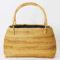 Un estilo único de tejido artesanal tejido Rattan bolso para ir de compras