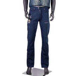 Custom Mens Super Stretch Skinny Jeans en détresse avec de lourdes rip de genou