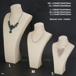 Commerce de gros de personnaliser la résine cuir synthétique NECKLACE Bijoux buste Mémoriser Afficher