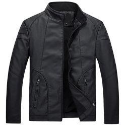 Commerce de gros hommes plus décontractée veste en cuir velours manteau Slim