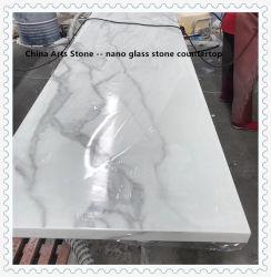 カウンタートップ(米国の市場のためのダンピング防止無し)のための人工的な白い大理石またはガラスの大理石またはガラスの石造りのヒスイの石のNanoガラスによって結晶させるガラス石
