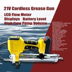 21V Batería de herramientas de mano la pistola de engrase con pantalla LCD El medidor de caudal