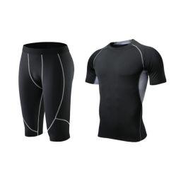 Bon marché de gros de la formation des hommes et une salle de Gym Sports de Jogger costume de compression