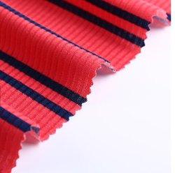 95%5%spandex polyester coton doux d'impression Stripe Rib le tissu de polyester Tissu pour le printemps et été Garment