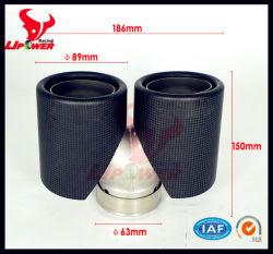 La alta calidad Super corto doble punta de escape de fibra de carbono, el silenciador de escape de consejos, tubo de cola para Coche Universal