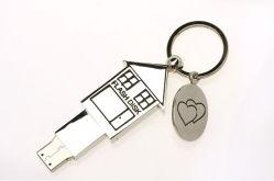 Дом форма USB, Пера металлические USB Memory Stick™ с цепочки ключей