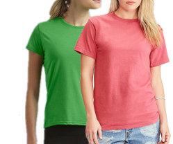 OEM de T-shirt van de Vrouwen van het Borduurwerk van het Af:drukken van de Douane van de Vervaardiging 100%Cotton