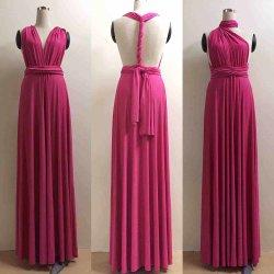 セクシーで変換可能なマルチ長の方法マキシの服の新婦付添人の服のイブニング・ドレス---ローズの赤