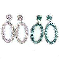 925 Hotselling Sterling Silver Earrings avec autour de forme ovale blanc CZ (E6863)