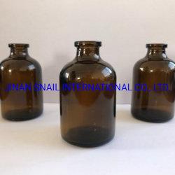 Amberkleurige gegoten glazen fles 50 ml.
