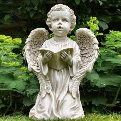 China Fabricante figuras de pedra de mármore branco Garden Angel Escultura Mfsr-74