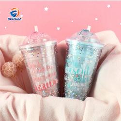 Commerce de gros cadeau bon marché en plastique réutilisables Eco tasse à double paroi avec de la paille et le couvercle pour l'eau avec LED