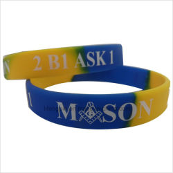Custom синий и желтый Debossed силиконовый чехол с логотипом Кистевой диапазон